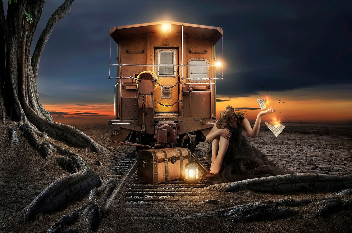 Photos for free girl, railroad, car - to the desktop