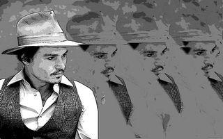 Бесплатные фото Джонни Дэпп,киноактер,шляпа,усы,рисунок,черно-белое