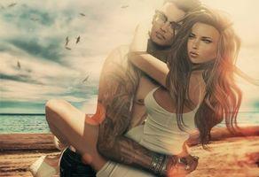 Бесплатные фото море, пляж, девушка, парень, любовь, настроение, art