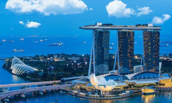 Заставки ночь, Сингапур, небоскреб