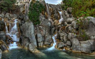 Бесплатные фото обрыв,камни,валуны,водопад,река,растительность
