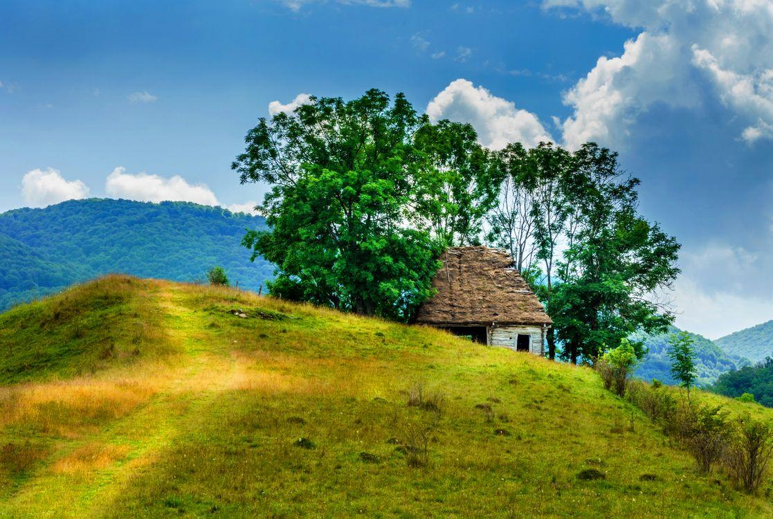 Фото бесплатно Румыния, горы, холмы, домик, деревья, пейзаж, пейзажи
