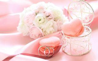 Бесплатные фото кольца,букет,цветы,шкатулка,сердечки,лента