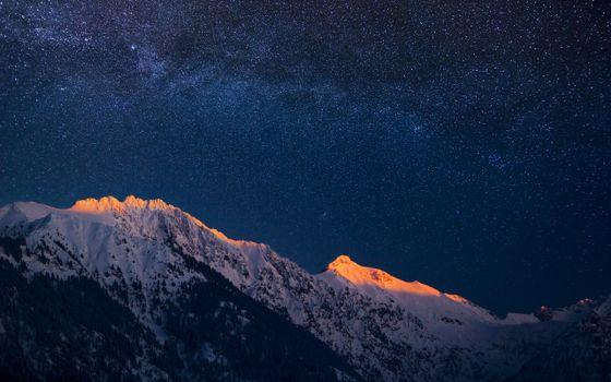 Фото бесплатно гора, красивое, звездное