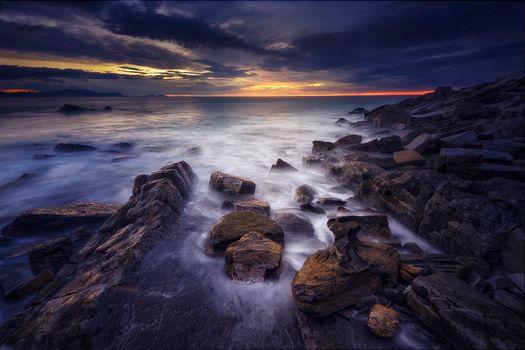 Photo free sunset, rocks, Bizkaia
