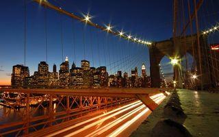 Бесплатные фото вечер,мост,конструкция,подсветка,машины,берег,дома