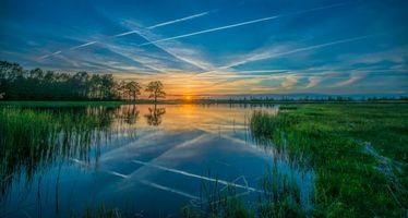 Фото бесплатно закат, река, деревья
