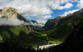 Бесплатные фото долина,река,дороги,горы,растительность,небо,облака