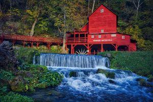 Бесплатные фото Hodgson Mill,Ozark County,Missouri,река,водопад,деревья,мельница