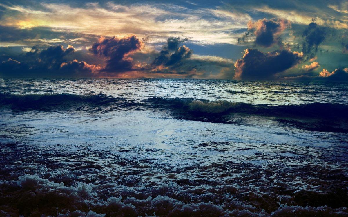 Фото бесплатно море, волны, горизонт - на рабочий стол