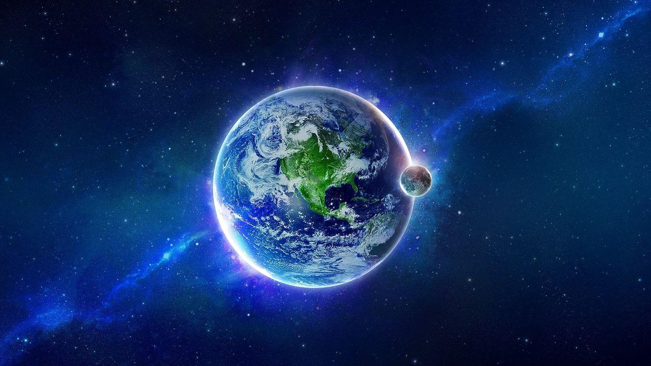 Фото бесплатно планеты, звезды, свечение, невесоиость, вакуум, космос