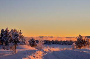 Бесплатные фото закат,зима,дорога,сугробы,деревья,пейзаж