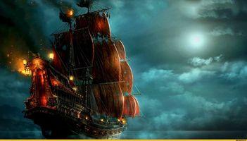 Заставки Боевой корабль, паруса, облака