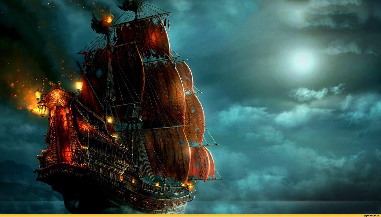 Фото бесплатно Боевой корабль, паруса, облака, море, рендеринг