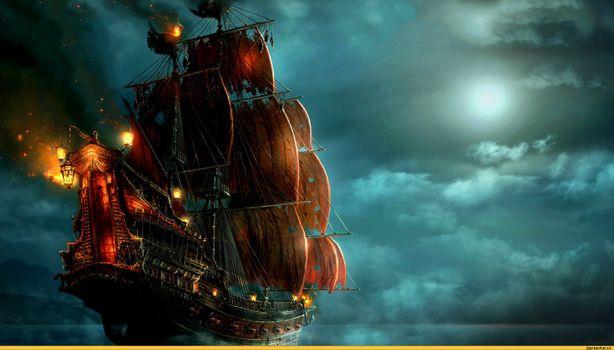 Фото бесплатно Боевой корабль, паруса, облака