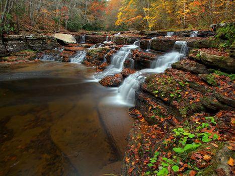 Camp Creek State Park, West Virginia, осень, водопад, скалы