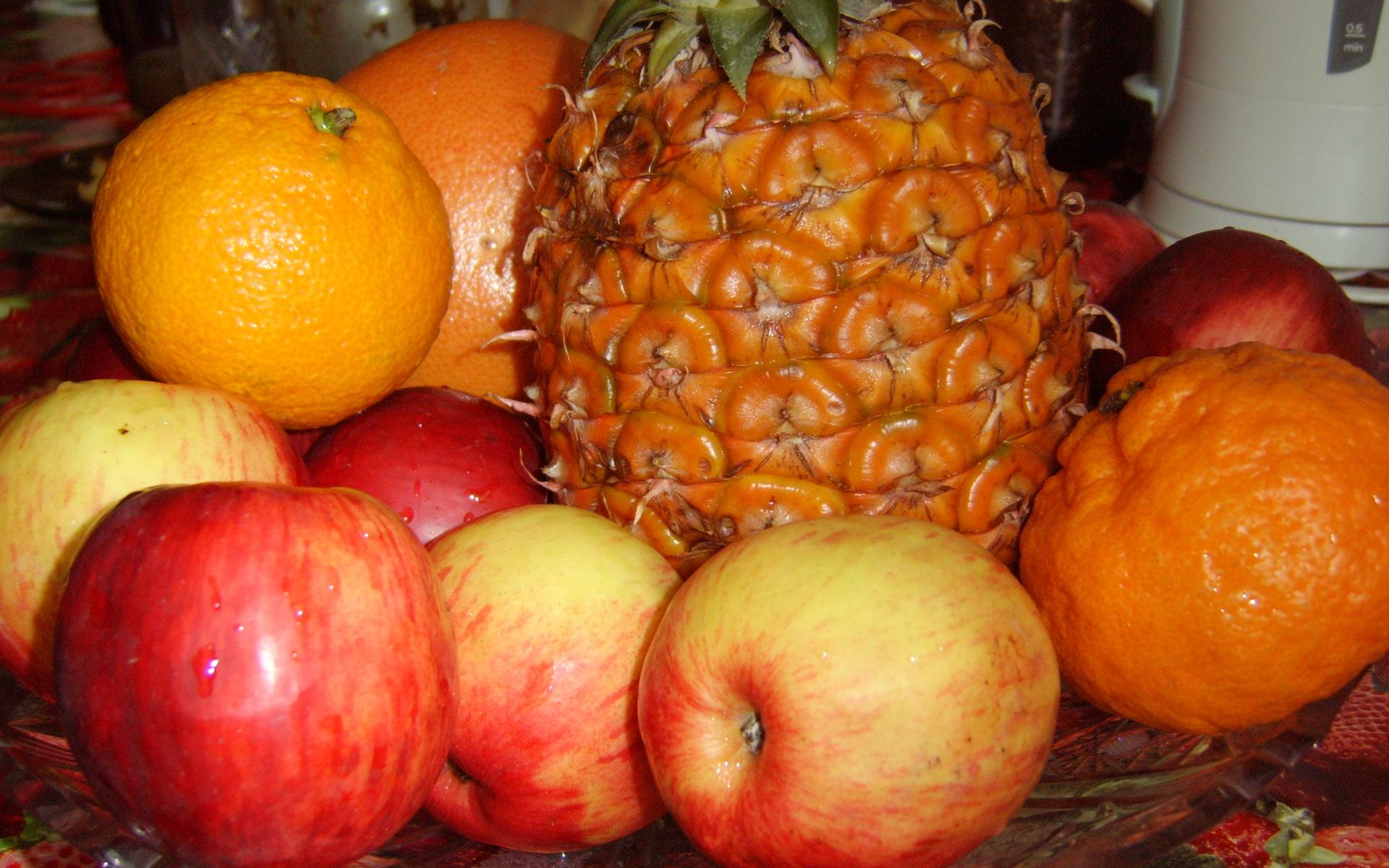 фрукты, яблоки, ананас