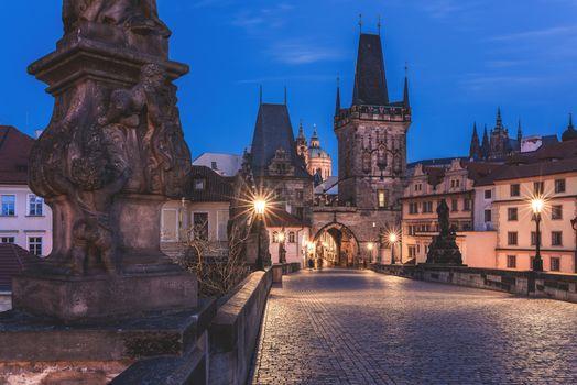 Photo free Prague, Charles Bridge Blue Hour, Czech Republic