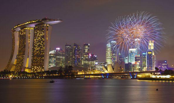 Скачать фотографию город, сингапур
