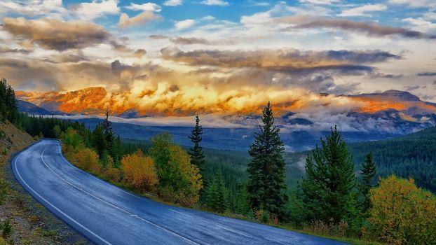 Фото бесплатно шоссе, лес, облака