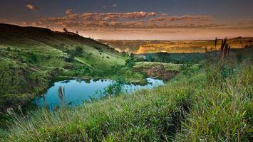 Фото бесплатно облака, озеро, трава