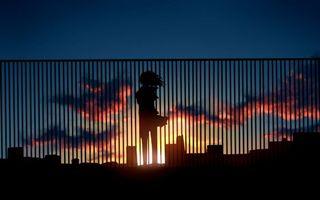 Бесплатные фото закат,солнца,забор,силуэт,девушки,город,небо
