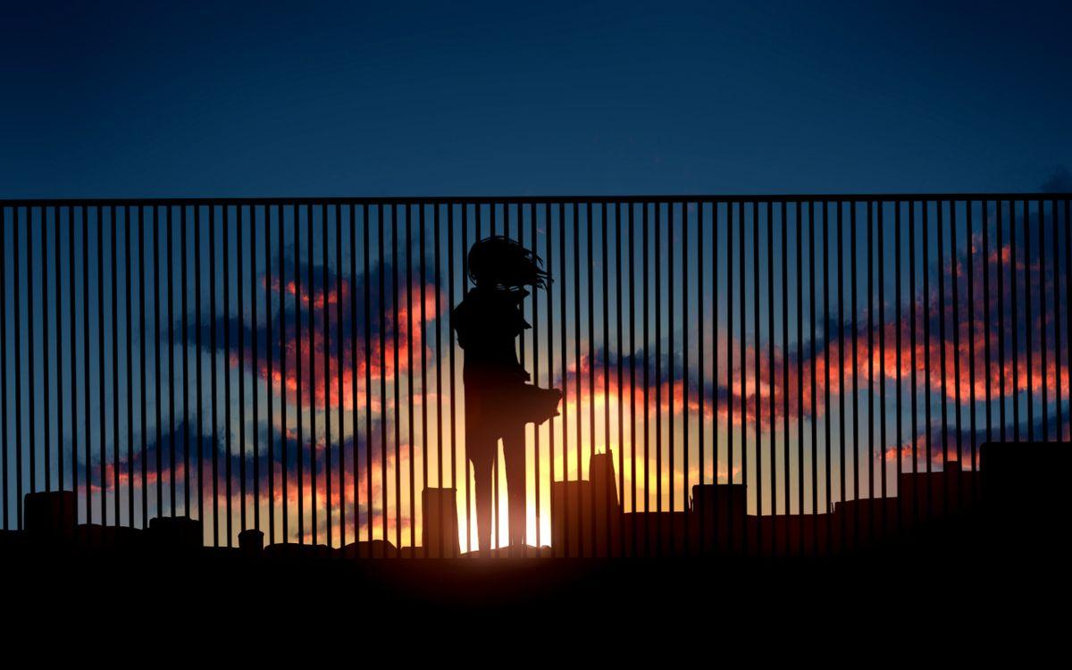 Фото бесплатно закат, солнца, забор, силуэт, девушки, город, небо, облака, разное