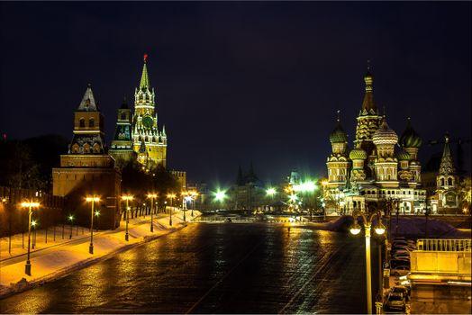 Фото бесплатно Собор Василия Блаженного, ночь, Москва