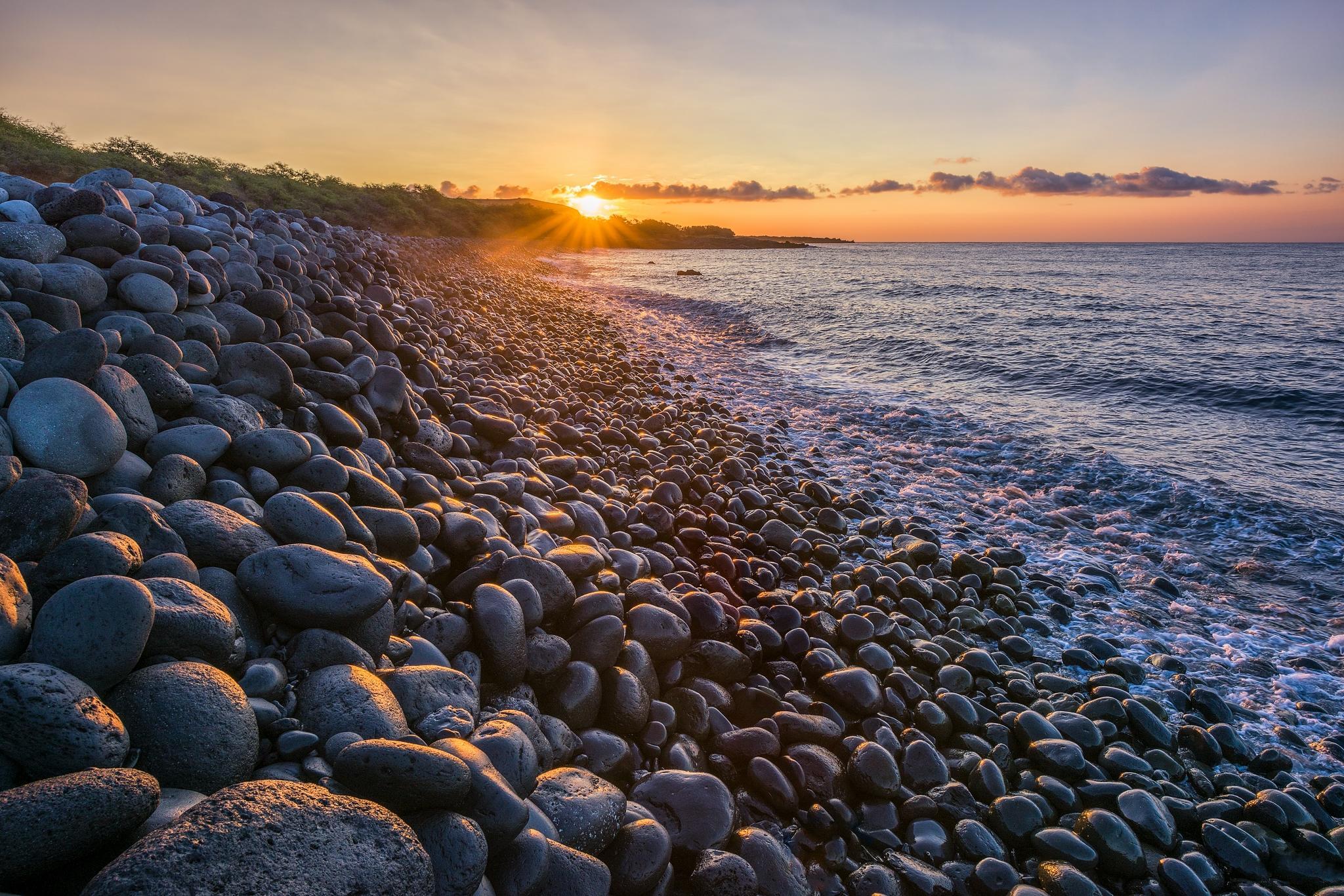 обои закат, море, берег, камни картинки фото