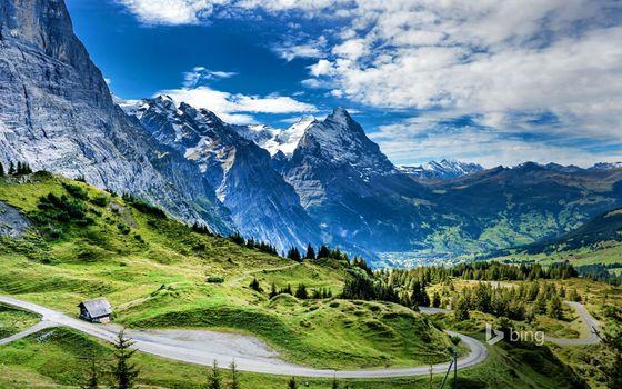 Photo free mountains, road, house
