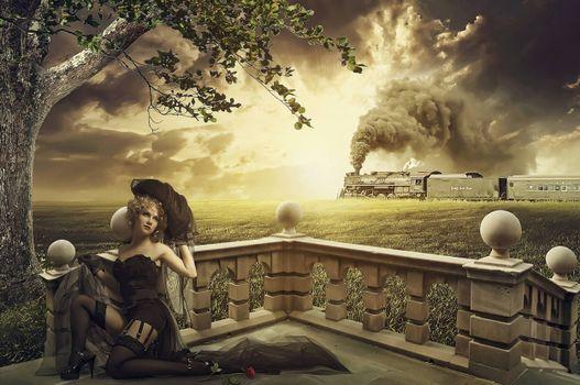 Фото бесплатно закат, девушка, паровоз