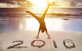 Бесплатные фото 2016,пляж,песок,надпись,мужчина,закат солнца,с новым годом