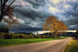 Фото бесплатно осень, тучи, дорога