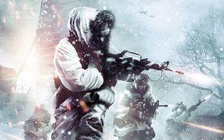 Бесплатные фото зима,снег,деревья,солдаты,автоматы,огонь,самолеты