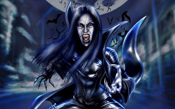 Заставки вампирша, волосы, оскал