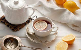 Заставки блюдце,ложечка,чашка,чай,лимон,чайник,ситечко