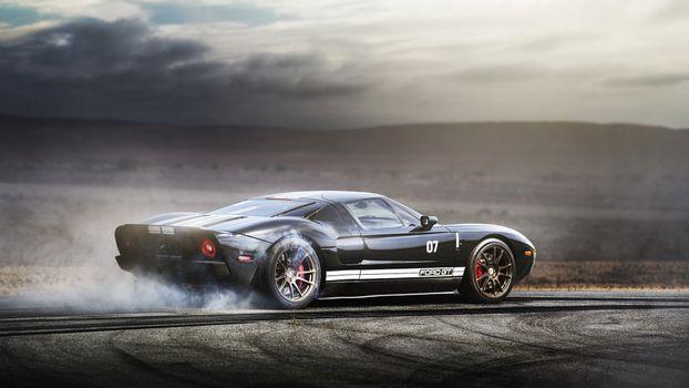 Фото бесплатно Ford GT, горелый дым, следы