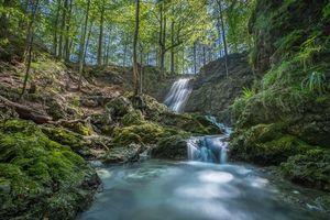 Фото бесплатно Schliersee, Bayrischzell, Альпы, ручей вода, река лес, деревья, водопад, поток, природа, пейзаж