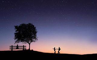 Фото бесплатно поле, закат, арт