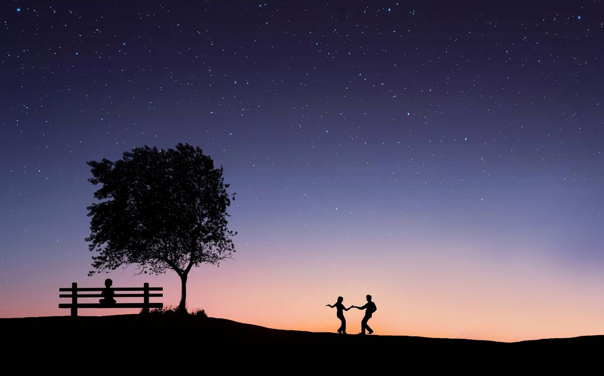 Фото бесплатно закат, поле, дерево, силуэты, art, рендеринг