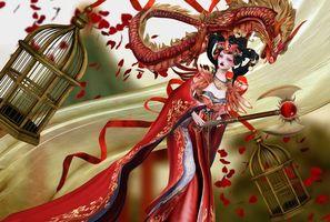 Бесплатные фото фантастическая девушка,девушка,фея,фэнтези,дракон,креатив,фантастика