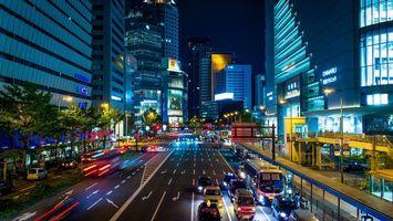 Бесплатные фото ночь, дома, здания, улица, дорога, машины, огни