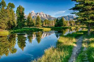 Бесплатные фото река,лес,горы,деревья,пейзаж