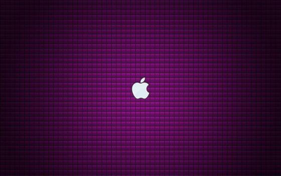 Photo free emblem, apple, violet background