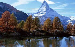 Бесплатные фото река,отражение,деревья,горы,снег,небо,облака