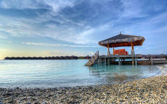 Бесплатные фото берег,море,пирс беседка,лестница,небо