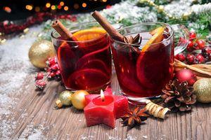 Photo free design, tea with lemon, New Year s still-life