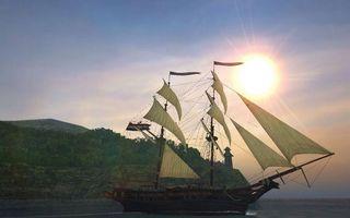 Бесплатные фото корабль,мачты,паруса,море,берег,растительность,небо