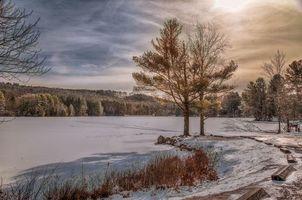Фото бесплатно закат, зима, озеро