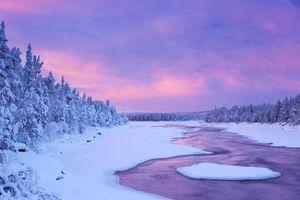 Бесплатные фото зима,закат,снег,сугробы,деревья,река,пейзаж